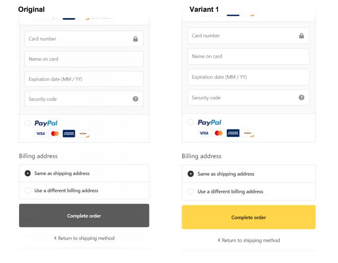 Yellow vs Default Grey Shopify Button Color A/B Test