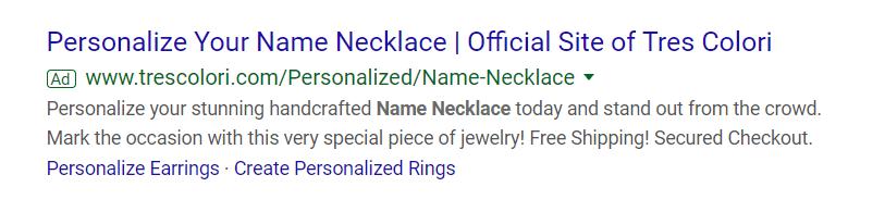 Tres Colori Search Ad Example