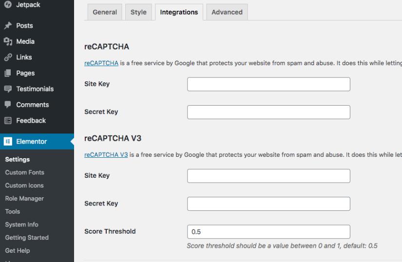Elementor settings where to put ReCaptcha API Keys