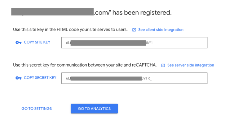 copy site key from google recaptcha