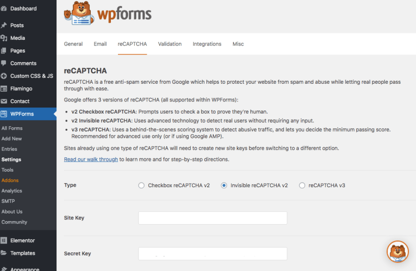 reCaptcha wp forms how to add to settings