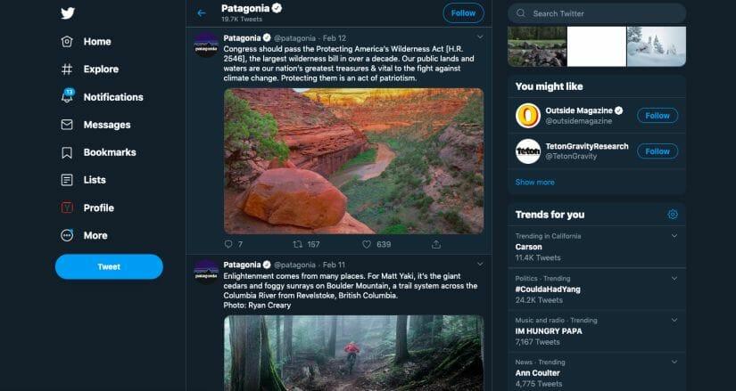 Patagonia Twitter Sports Marketing Strategy Post