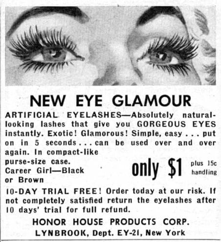 Advertisement ad for fake lashes in the 50s