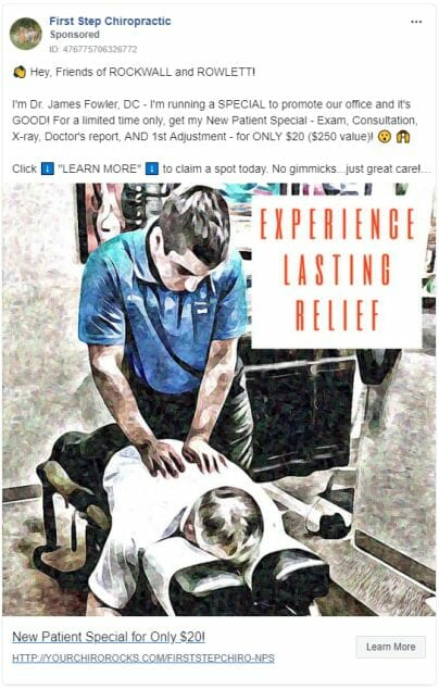 Chiropractic Clinic Ad Creative