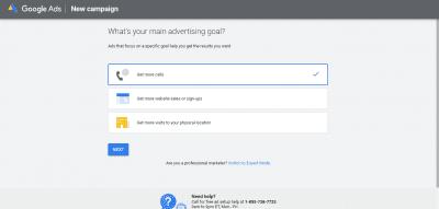 Google ads goal