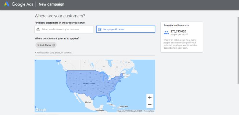 Google ads map