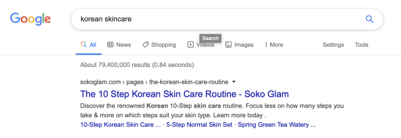 Soko Glam google search result