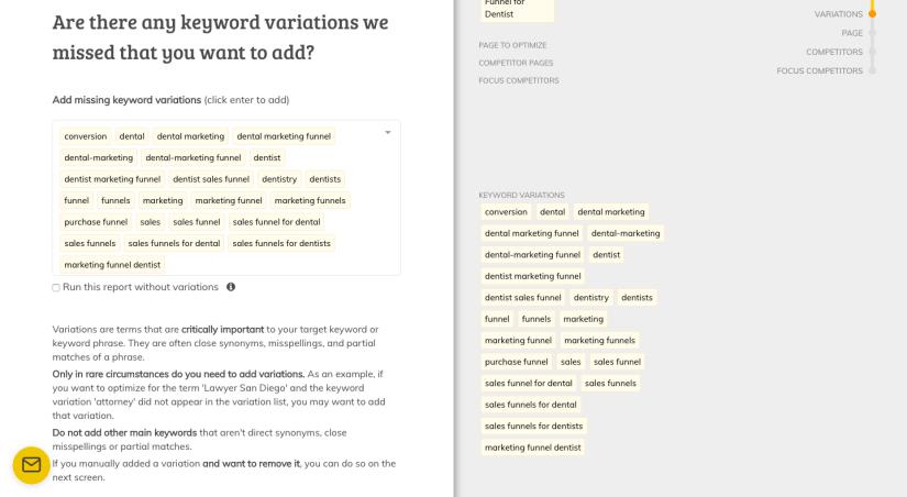 Page Optimizer Pro Adding Keywords
