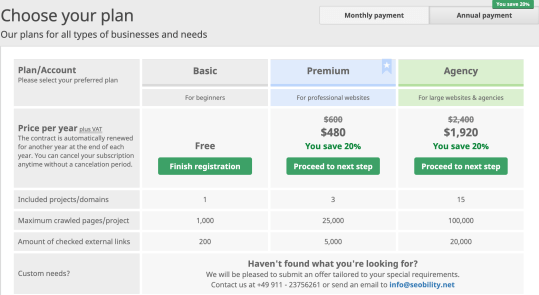 Seobility Pricing Top Free SERP Tools