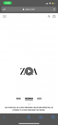 zara mobile website home page