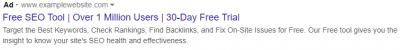Google Ads ad copy example