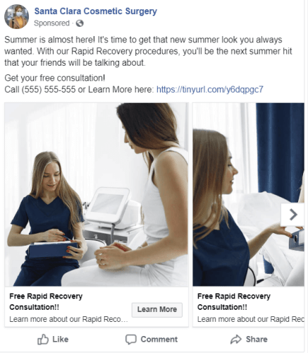 Carousel Ad of women going to her local cosmetic surgeon