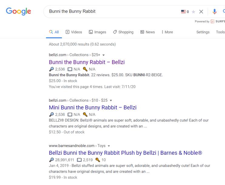 bunni the bunny rabbit google search result