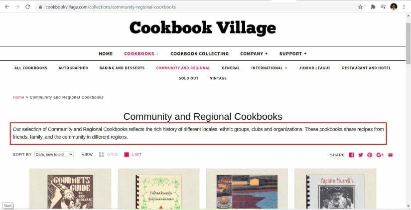 cookbook village collection page content description