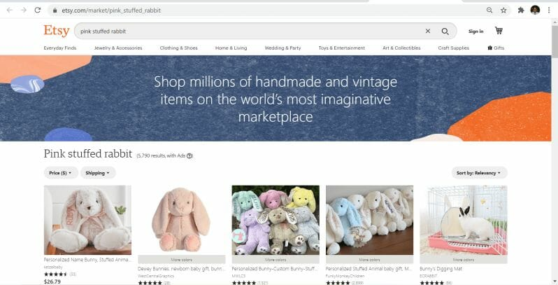 pink stuffed bunny collections page