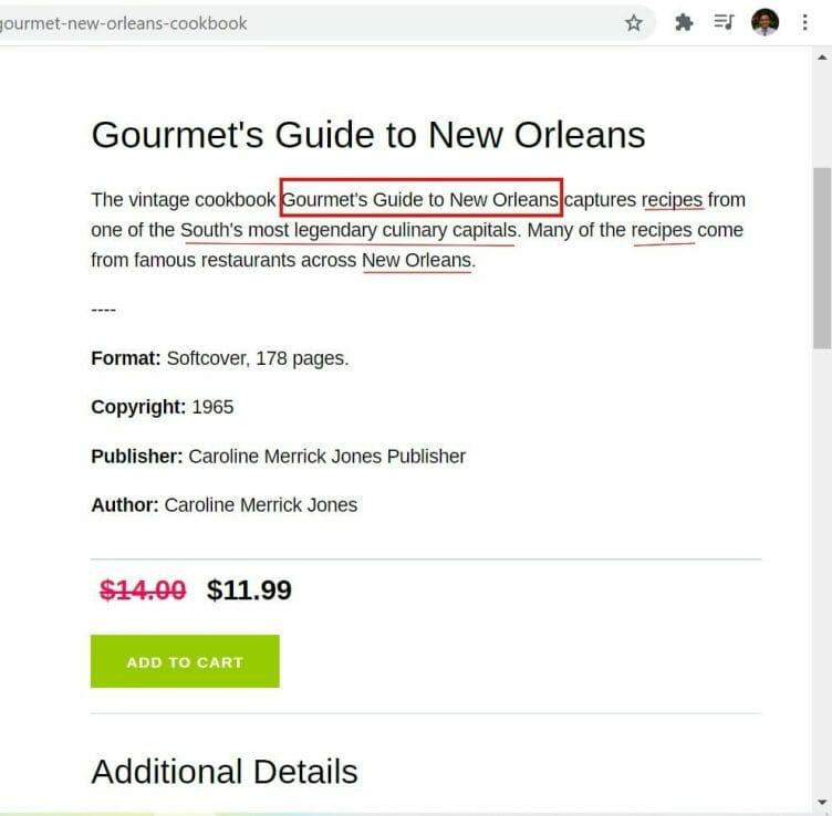 product page content description