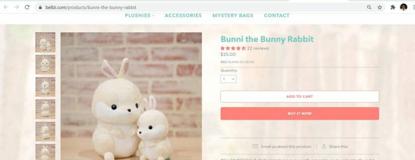bunni the rabbit shopify product page