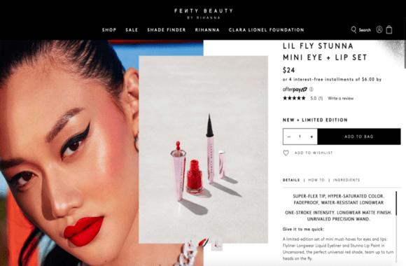 Image example for makeup product page shopify fenty beauty