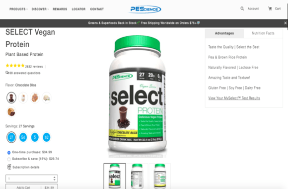 PEScience good shopify product page example