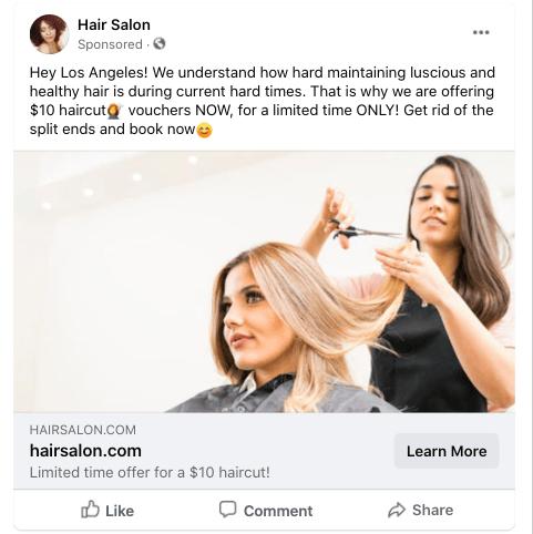 Image Salon Business Facebook Ad