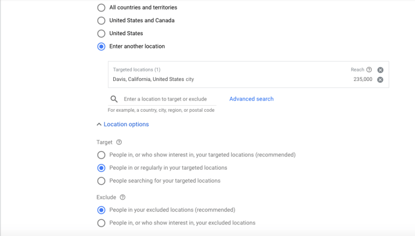Location Options for Google ads for Hair Salons