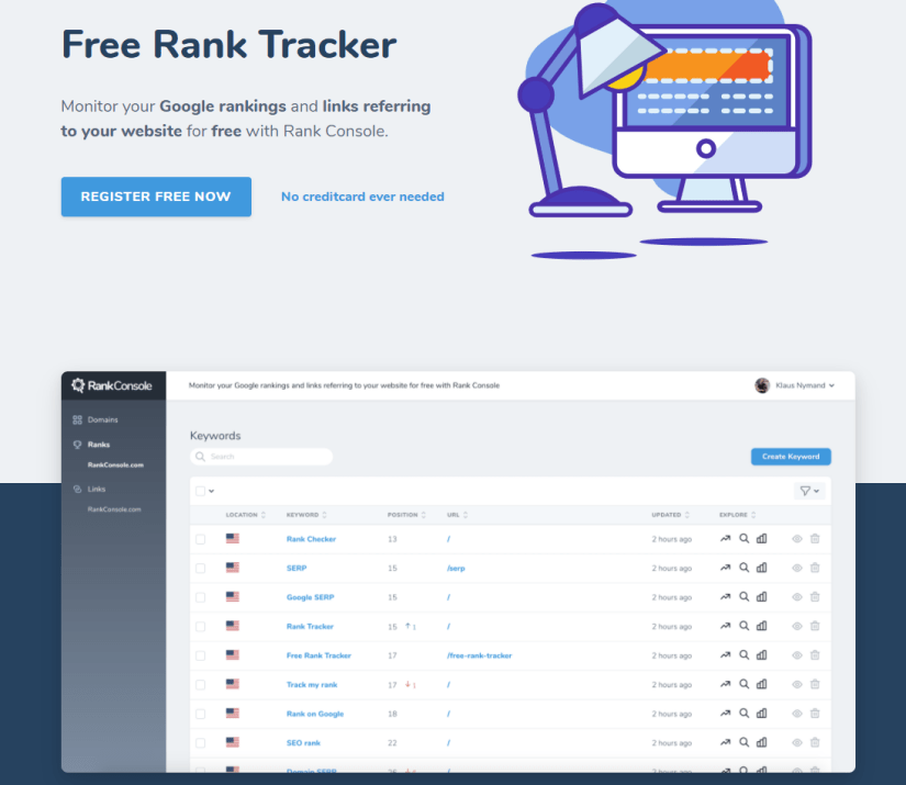 Rank Console for keyword research
