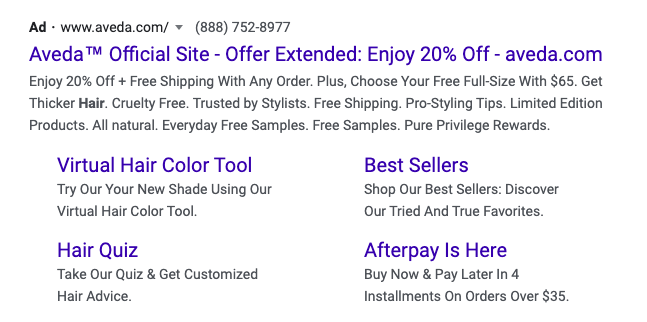 Sitelink Extensions Example for Google Ads for hair salons