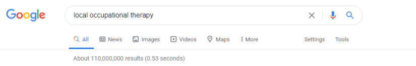 Google results for local occupational therapy