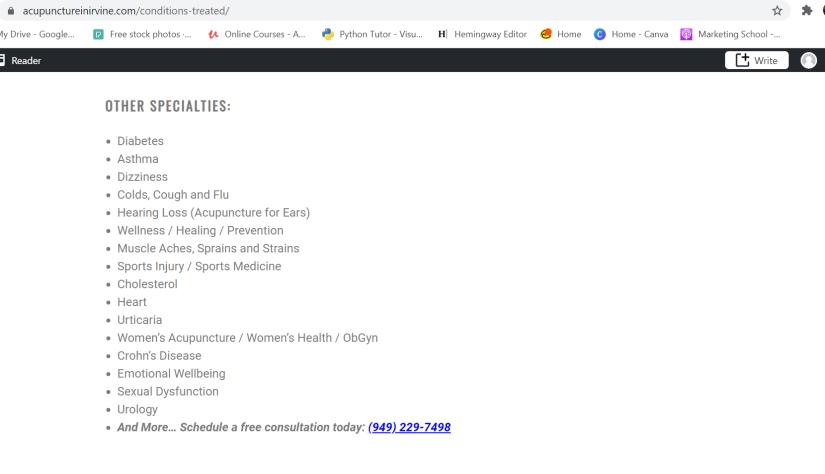 potential service pages list
