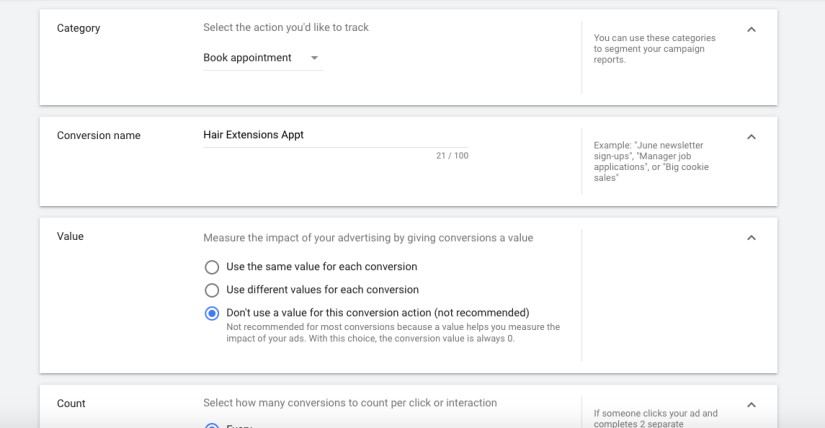 Conversion Tracking Set Up for Google ads for hair salons