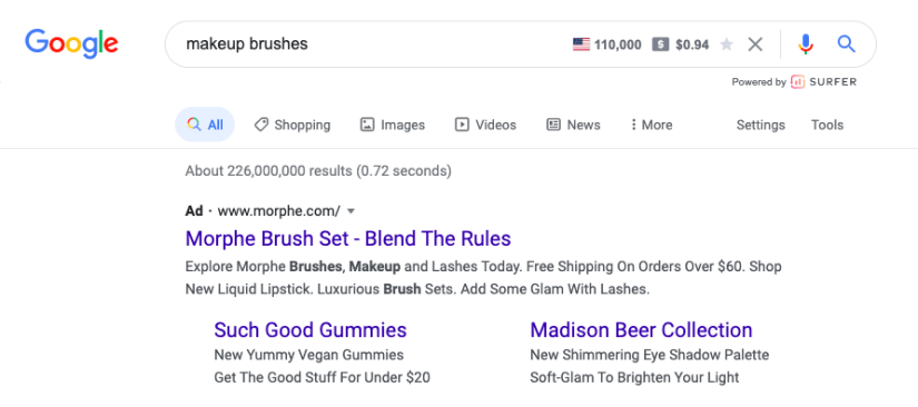 Generic Search ad example- Makeup brushes