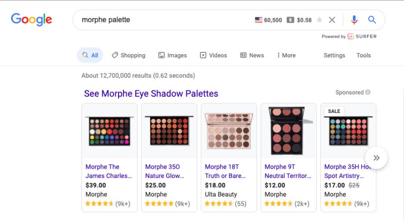 Google Shopping Ad Branded Example- Morphe palette