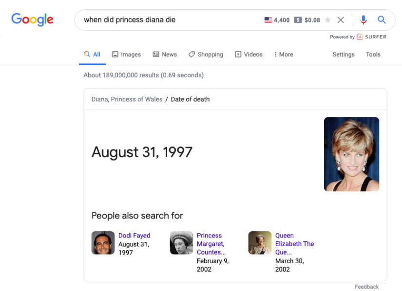 Know Simple Queries Example- Princess Diana Death Date
