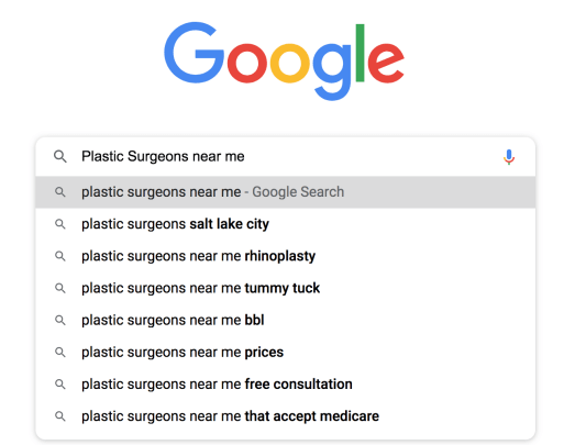 Long-Tail keyword example for plastic surgeons