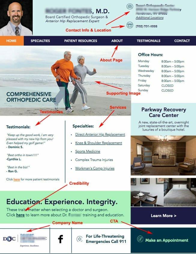 Ortho Surgeons Landing Page