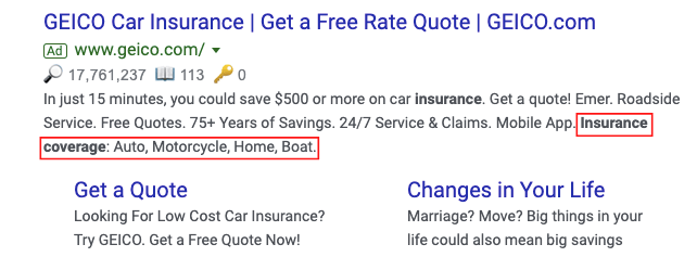 Structured Snippet Insurance Coverage example