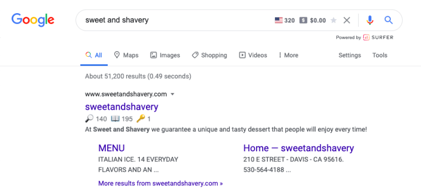 Sweet and Shavery Navigational Search