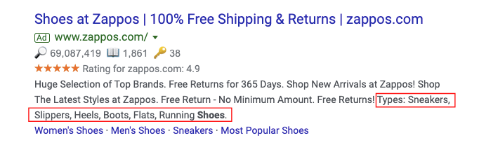 Structured Snippets vs Callout Extensions examples