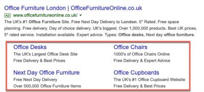 Google Ads Sitelink extensions
