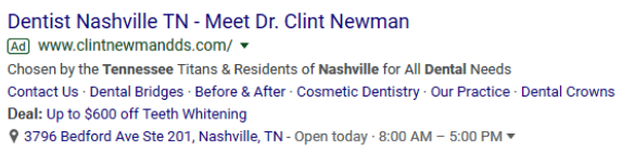 Ad Extensions for Dentists example