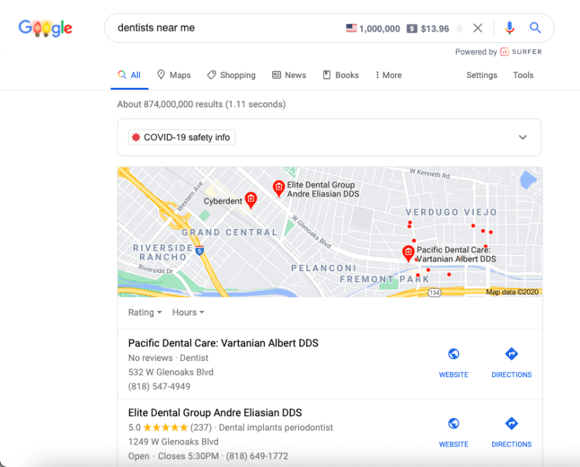 Dentist near me search
