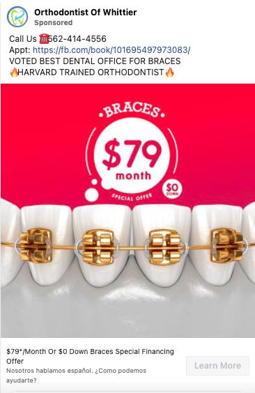 Facebook Ad Copy Example