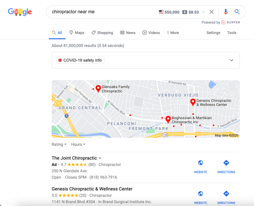 Google My Business Chiropractor Example