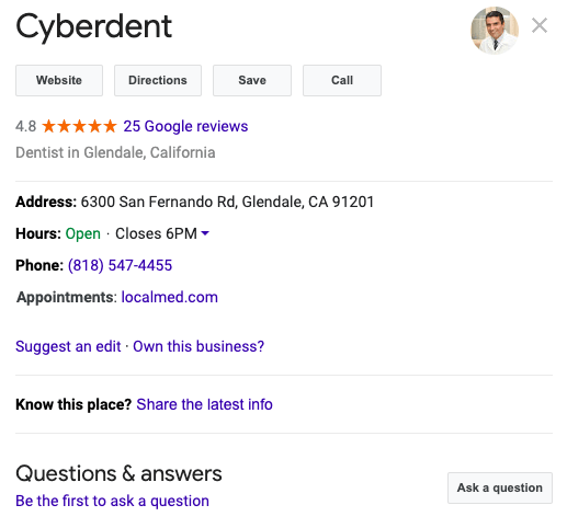 Google My Business Dentist example