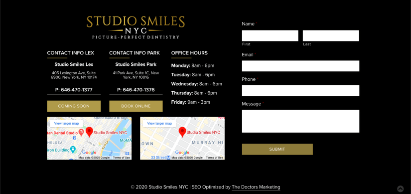 Landing Page example - Contact Info