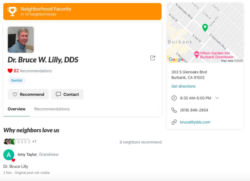 Nextdoor for Dentists Example