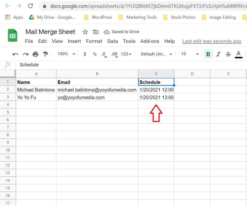 schedule column