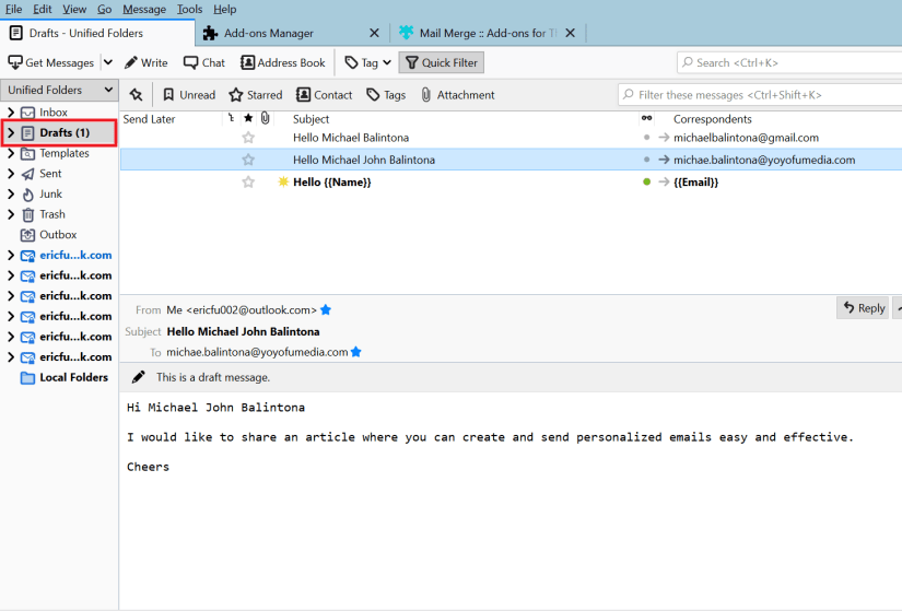 your drafted emails