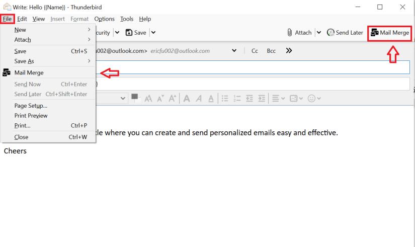 locating mail merge