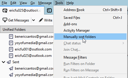 where to find manually sort folder